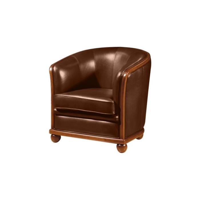fauteuil cabriolet cuir basane chocolat achat vente fauteuil marron cdiscount. Black Bedroom Furniture Sets. Home Design Ideas