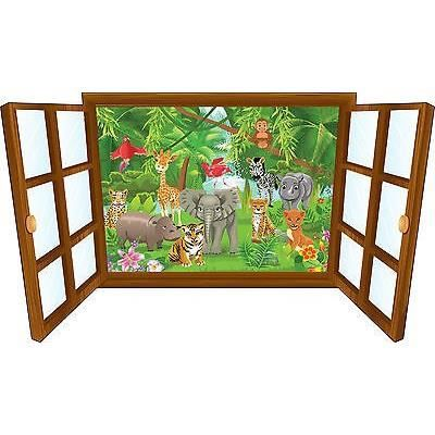 Sticker enfant fen tre b b animaux de la jungle r f 3920 dimensions 60x35cm achat vente for Chambre jungle cdiscount