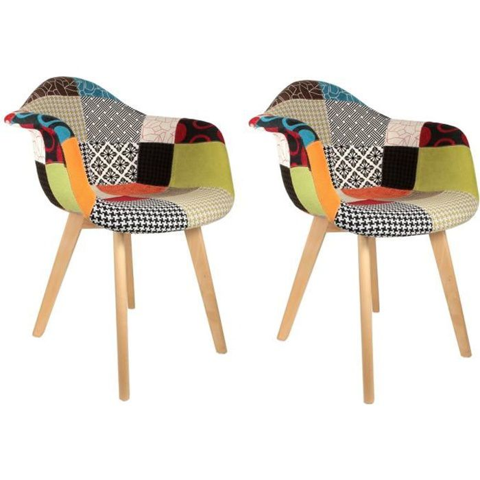 Fauteuil scandinave patchwork color lot de 2 achat for Chaise en tissu colore
