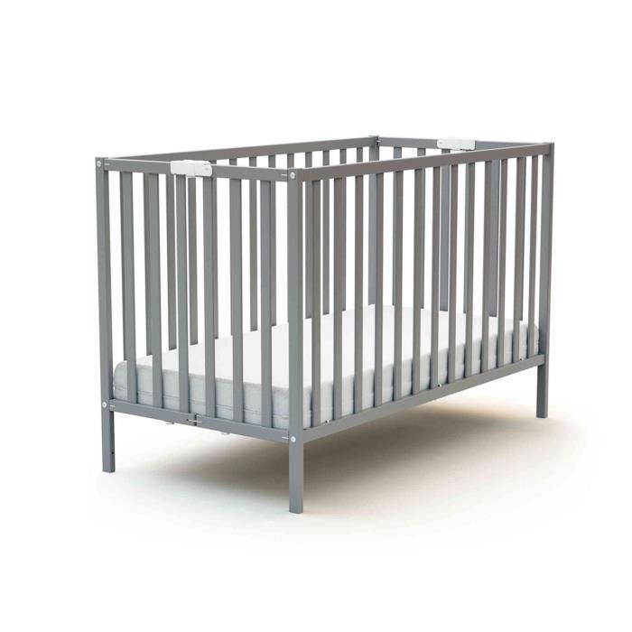 Lit b/éb/é /évolutif en bois laqu/é gris Baby Fox 70 x 140 cm