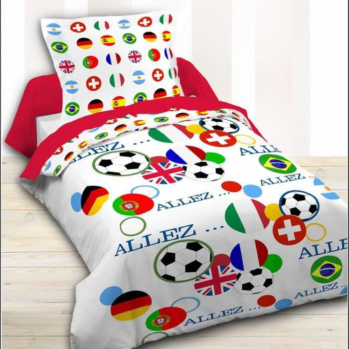 housse de couette 140 x 200 football nation achat. Black Bedroom Furniture Sets. Home Design Ideas