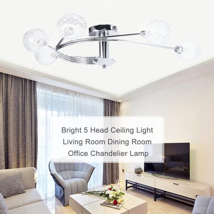 Super Lumineux 5 Têtes Lustre Lampe Plafonnier Design