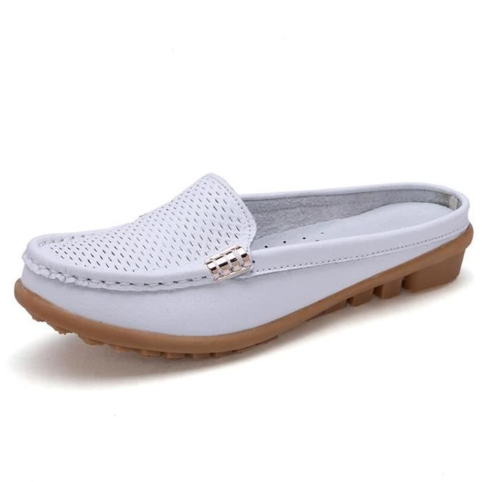 Mocassin Femmes Cuir Occasionnelles Classique Chaussure BLKG-XZ045Blanc35 kLgvO8ong
