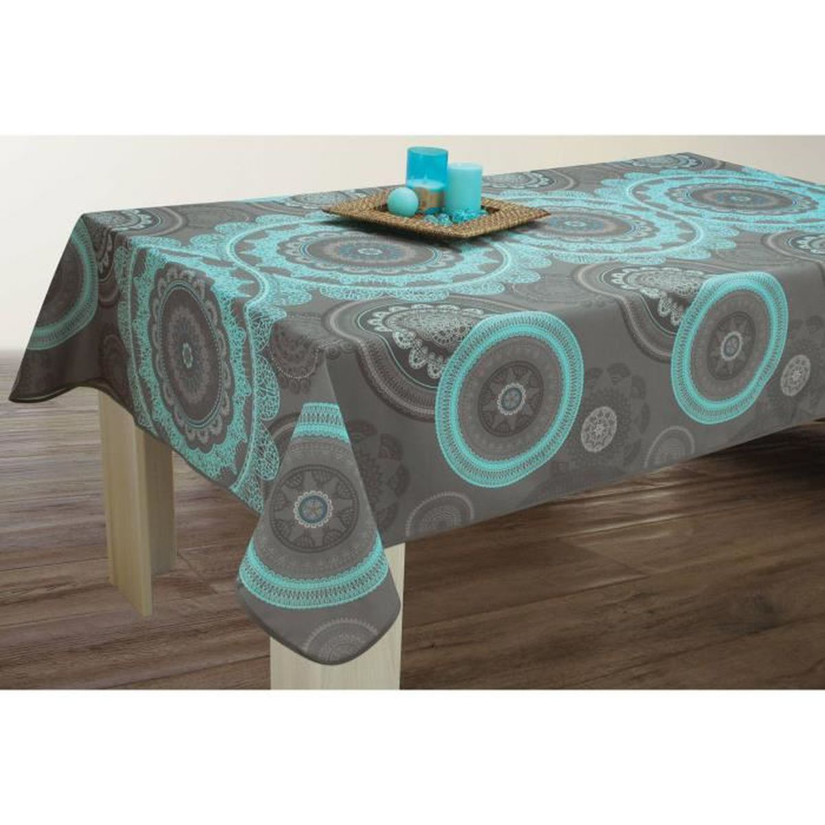 nappe anti taches rectangulaire 150x240 cm mandala turquoise achat vente nappe de table. Black Bedroom Furniture Sets. Home Design Ideas