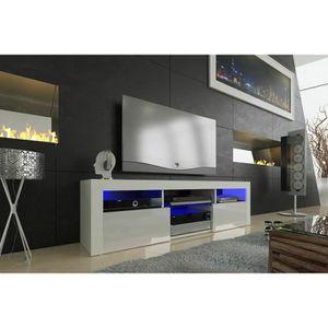 MEUBLE TV Meuble tv 160 blanc mat façade laquée avec led RGB