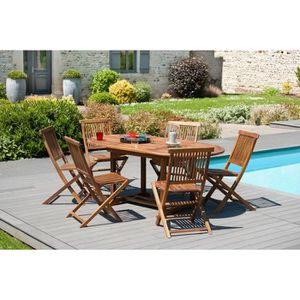 TABLE DE JARDIN  Table ovale extensible en teck huilé 120-180x90 cm