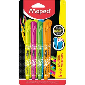 JEU DE COLORIAGE - DESSIN - POCHOIR MAPED Assortiment de 5 stylos fluo Peps + 3 couleu