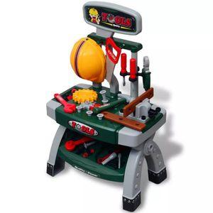 BRICOLAGE - ÉTABLI Établi-jouet avec outils pour enfants Vert + Gris