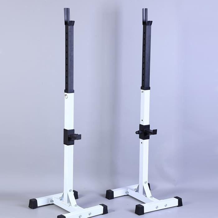 BULAIye Repose Haltère Réglable Charge max.150 kg 15 Niveaux Repose Barre Musculation Longs à Disques Squat Rack Blanc