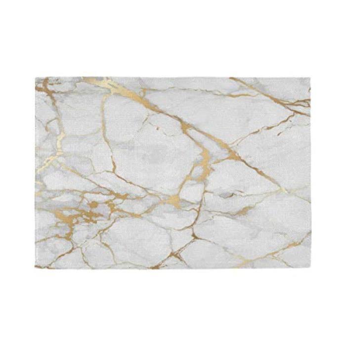 Pack Linge De Table LR8LE Napperons en marbre Napperon de texture blanc et or Tapis de table antidérapants Napperons résistants à la