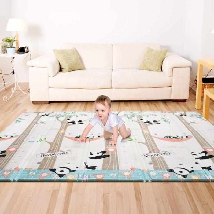 Bammax Tapis de Jeu pour Bébé,Tapis d'éveil Enfant,tapis bébé pliable matériau XPE Non Toxique Tapis enfant avec Motif de Pandas,197