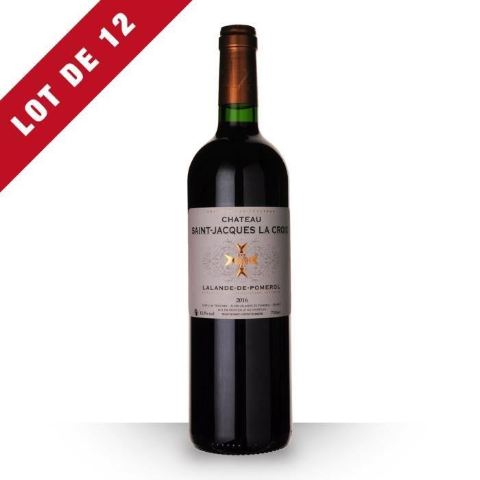 Lot de 12 - Château Saint-Jacques la Croix 2016 AOC Lalande-de-Pomerol - 12x75cl - Vin Rouge