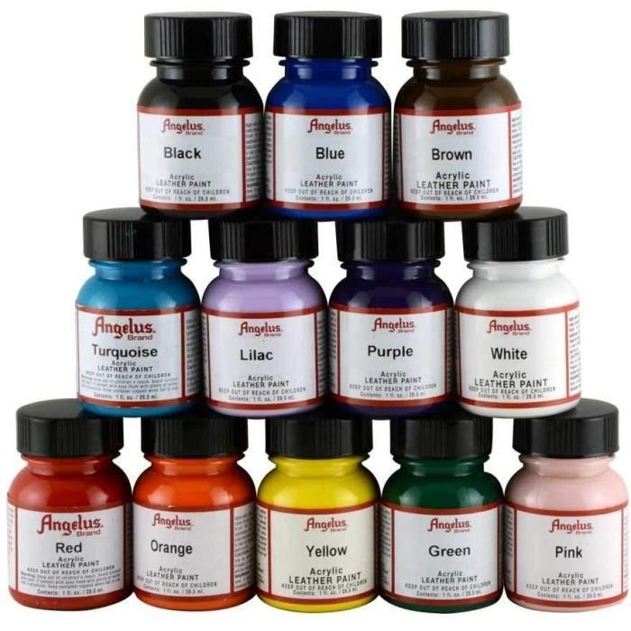 Lot de 12 flacons de peinture pour cuir Angelus 29,5 ml353