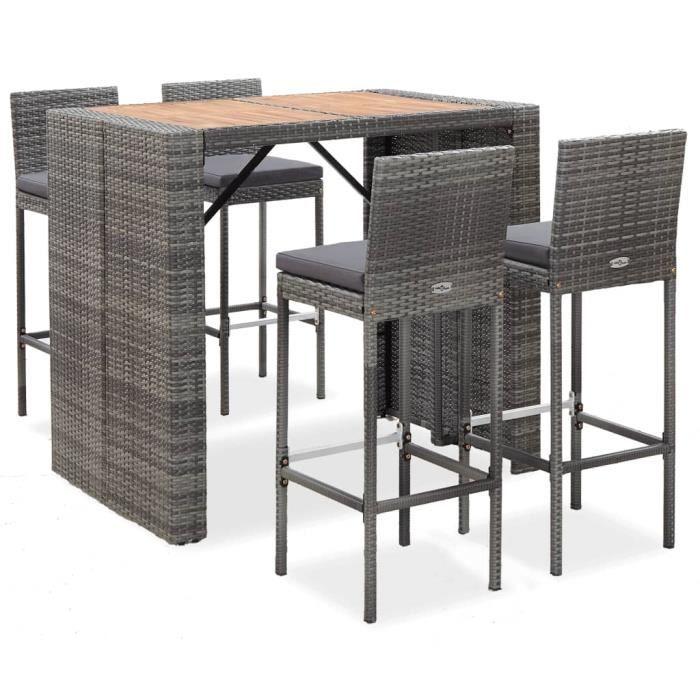 Ensemble Table de bar + 4 tabourets bar - Ensemble de bar 5 pcs Mange-Debout Résine tressée et bois d'acacia Gris