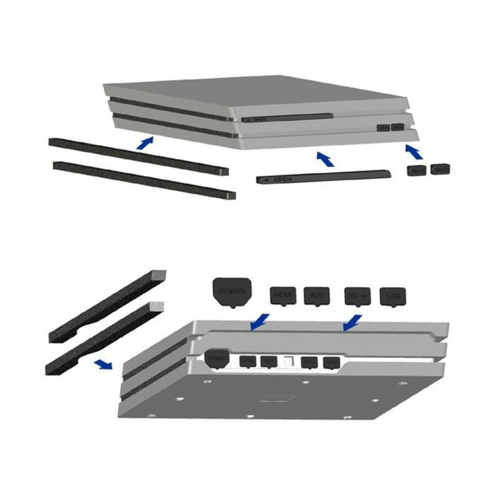 Kit antipoussière pour Playstation 4 / PS4 Pro (noir)