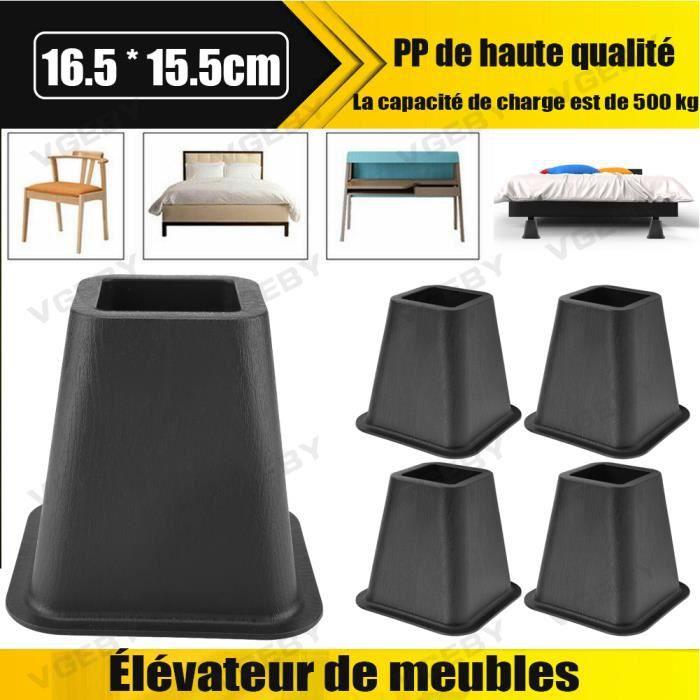 Lot de 4 rehausseurs de lit ou de meuble Pied Rehausseur de Meuble noir*4 - CYA