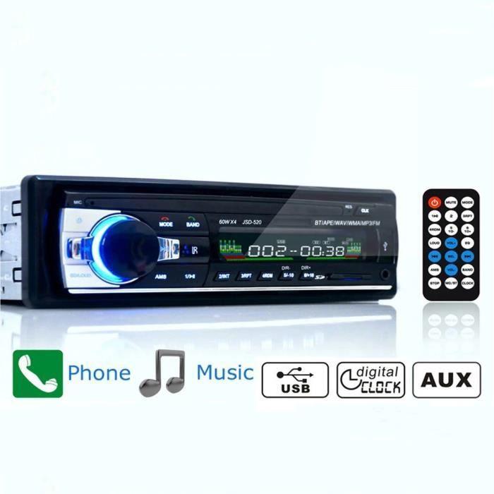 Récepteur autoradio FM, Bluetooth, SD, USB, 12V (JSD-520), lecteur multimédia MP3, intégré au tableau de bord de la voiture