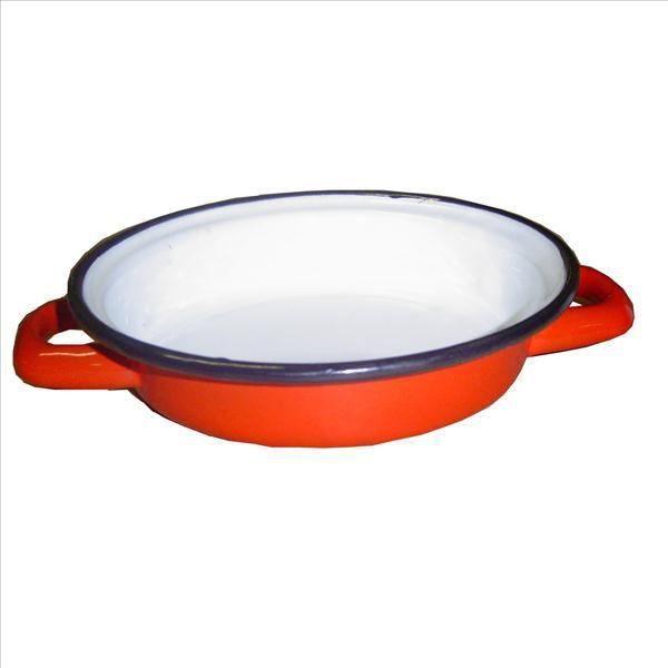 Plat à ufs D : 18 cm - acier émaillé - rouge