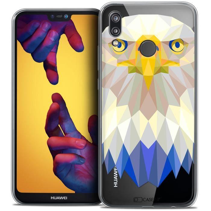 Coque Gel Huawei P20 LITE (5.84 ) Extra Fine Polygon Animals - Aigle