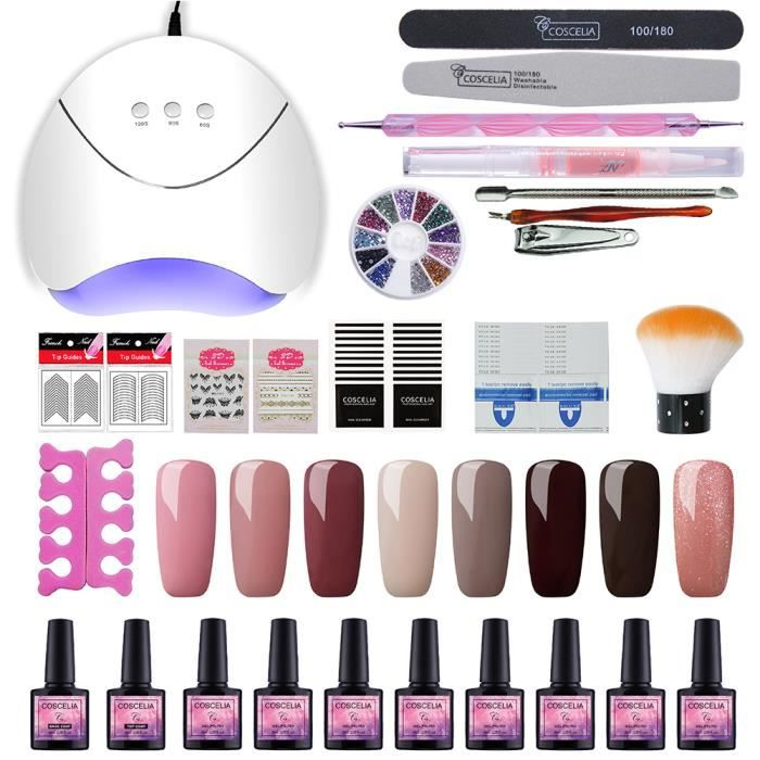 Coscelia 36W LED/UV Lampe USB Sèche Kit Vernis à Ongle Soak Off UV Nail Gel Brosse Strass Colle Huile Accessoires Nail Art Outils