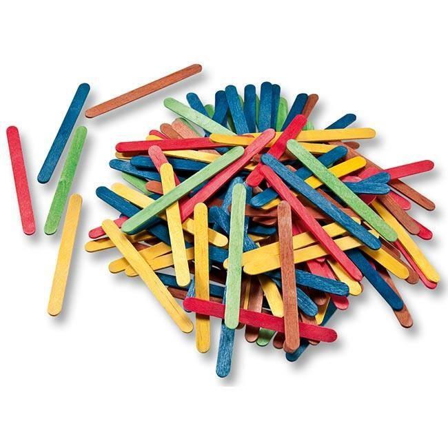 Bâtonnets en bois coloris assortis 500 pièces 114 x 10 x 2mm