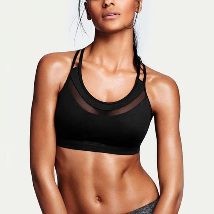 Brassiere Vêtements de sport -M Vêtements de sport Femme Croix Soutien-Gorge de Sport Top Sport Bh Fitness Femmes Mesh Crop Tops