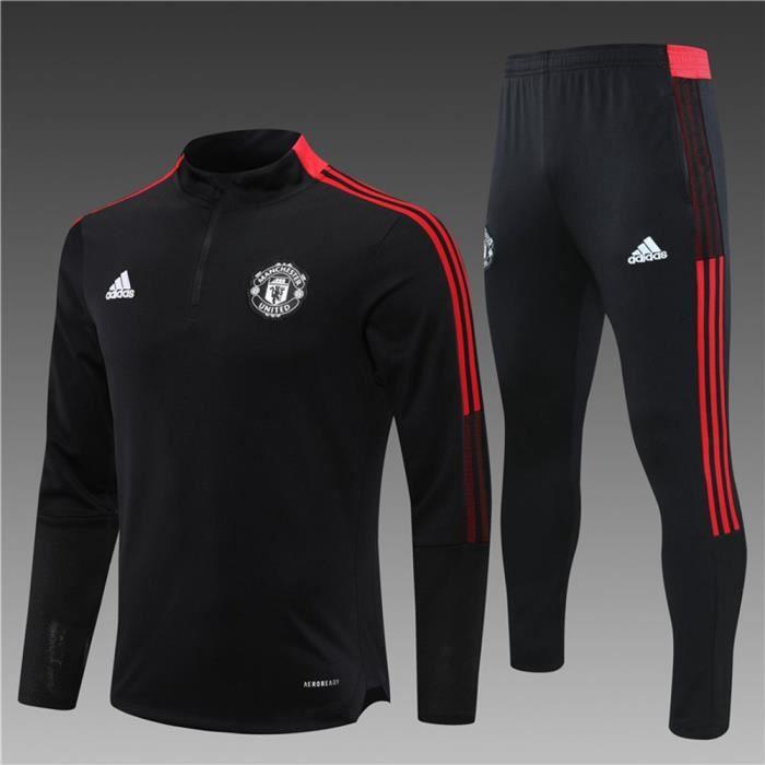 Manchester United 2021 2022 Survêtements Foot Homme Enfants Maillot de Football - Noir