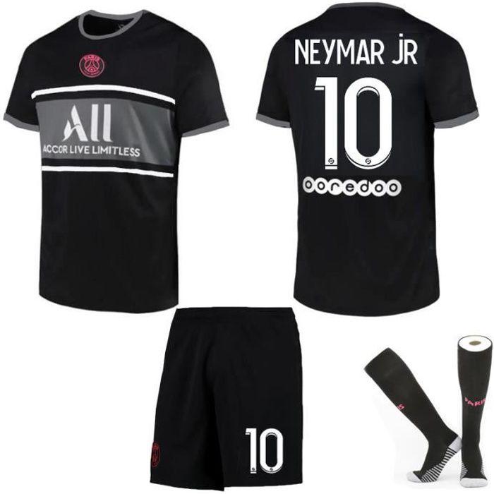 Maillot de Football 2122 une collection de Paris-Neymar 10 Maillot Extérieur Noir Tenue + Chaussette Tissu Respirant pour Adulte