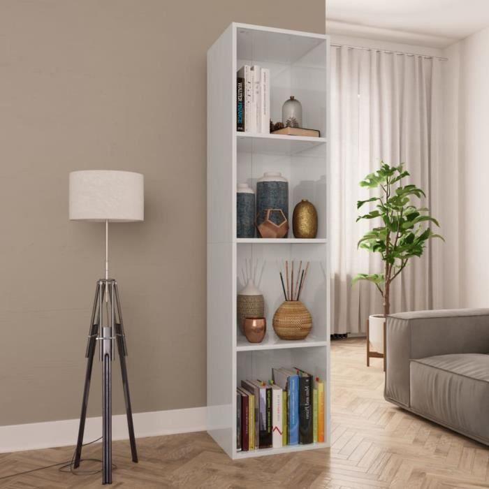 Bibliothèque-Meuble TV Blanc brillant 36x30x143 cm Aggloméré contemporain salon