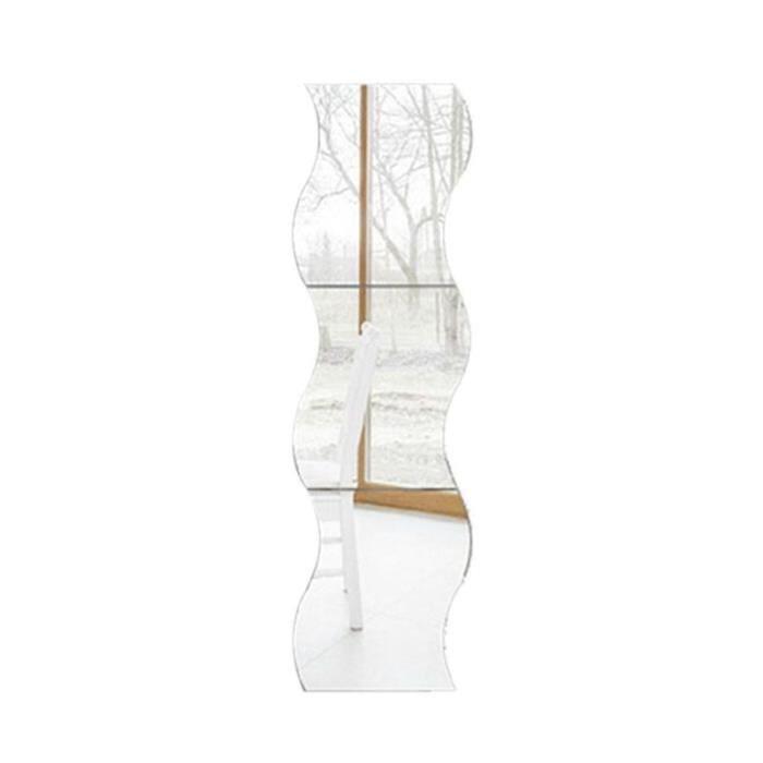 6pcs Miroir de Mur Carree Autocollant Motif de Vagues d'Argent Murales de Style Chambre d'enfant Decoration
