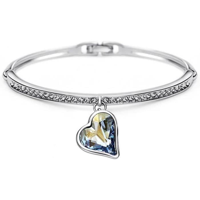 Bracelet Jonc Charm's Coeur Cristal Swarovski Elements Gris Argent Fin 925 Rhodié*