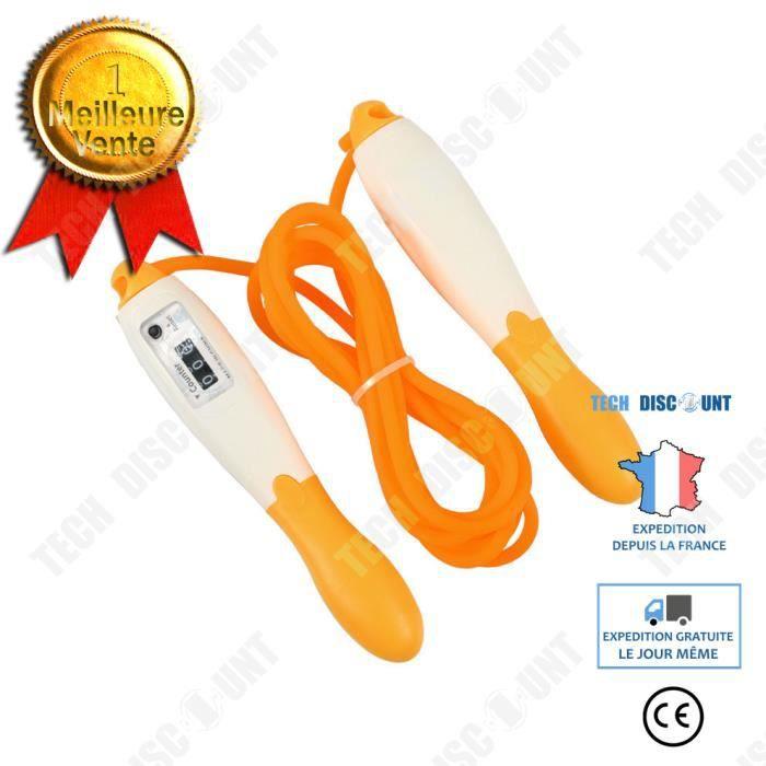 TD® Orange Corde à Sauter Numérique avec Compteur pour Enfant Adultes Gym Brûler des Calories Speed Rope Fitness- 2.5m