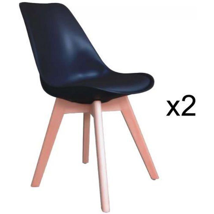 chaises scandinave 2 noir GALA de Lot KcT1lFJ