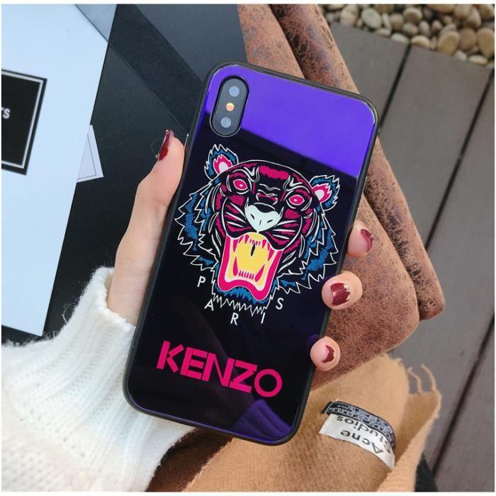 kenzo coque iphone x bleu verre