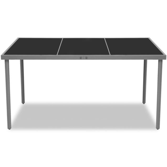 tables d 39 exterieur vidaxl table de salle a manger d 39 exterieur noire 150x90x74 cm achat vente. Black Bedroom Furniture Sets. Home Design Ideas