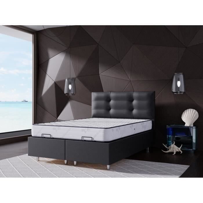 lit coffre 140x190 noir matelas memoryfoam 25cm achat. Black Bedroom Furniture Sets. Home Design Ideas