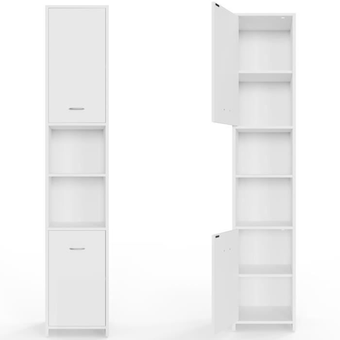 meuble blanc armoire salle de bain 185x30x30cm achat vente armoire de toilette armoire de. Black Bedroom Furniture Sets. Home Design Ideas