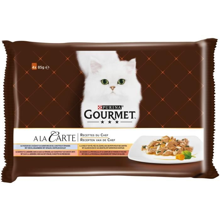 BOITES - PATÉES Pâtée pour chat au poisson 4x85g Gourmet