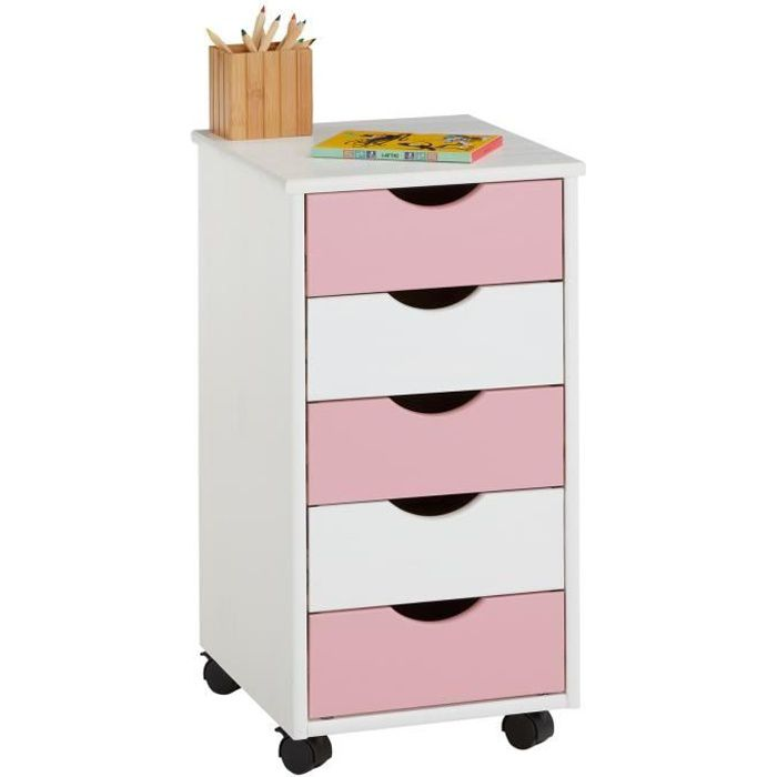 caisson de bureau sur roulettes 5t blanc rose achat vente caisson de bureau caisson bureau. Black Bedroom Furniture Sets. Home Design Ideas