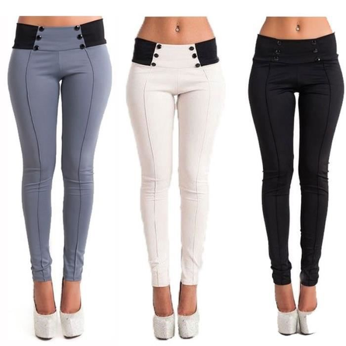 femme slim pantalon moulante casual skinny crayon leggings blanc achat vente pantalon. Black Bedroom Furniture Sets. Home Design Ideas