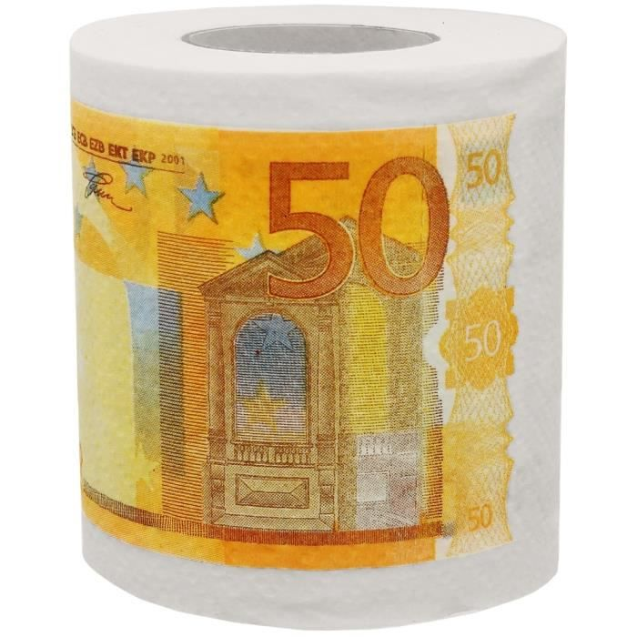 rouleau papier toilette wc billet 50 euros humour fun achat vente papier toilette rouleau. Black Bedroom Furniture Sets. Home Design Ideas