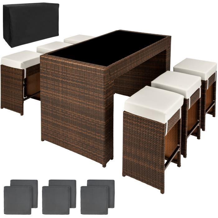 TECTAKE Salon de jardin CAPRI 6 places Tabourets de bar en Résine Tressée  et Aluminium Marron + 2 Sets de housses