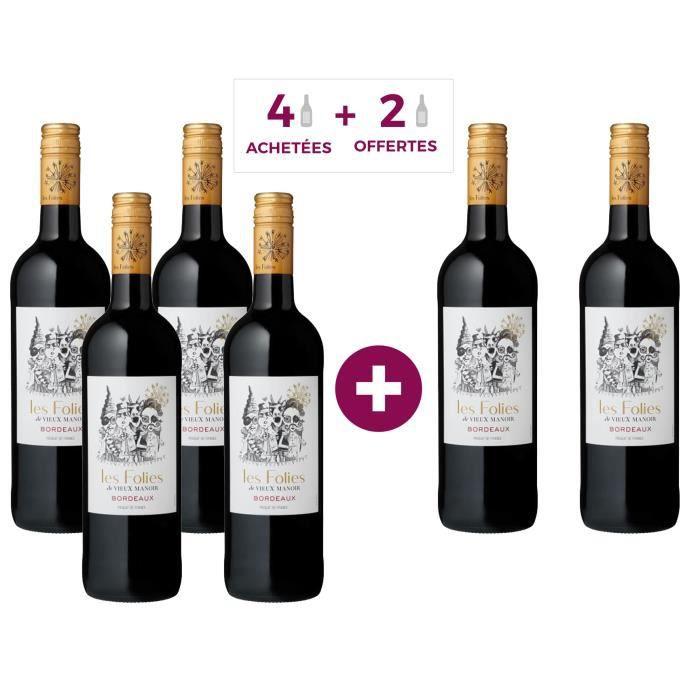 Les Folies de Vieux Manoir 2018 Bordeaux - Vin rouge de Bordeaux - 4 achétées + 2 offertes