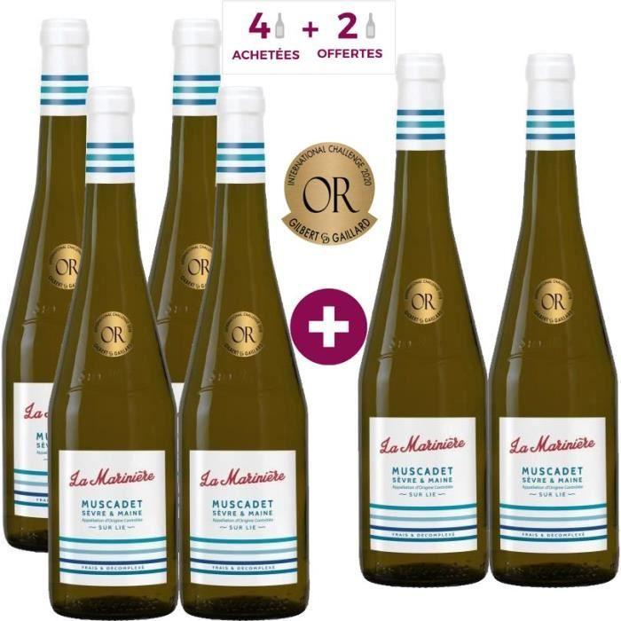 4 Achetées + 2 Offertes - La Marinière 2018 Muscadet Sèvre et Maine - Vin blanc de la Val de Loire