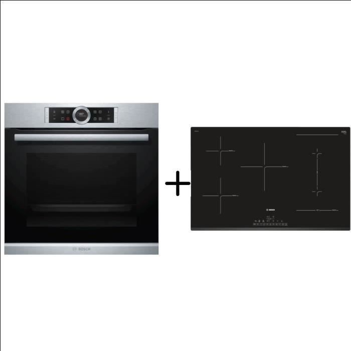 BOSCH HBG672BS2 Four multifonction pyrolyse inox 71 l - Classe A+ - Inox + PVW831FC5E Table Combi induction - Pack encastrable