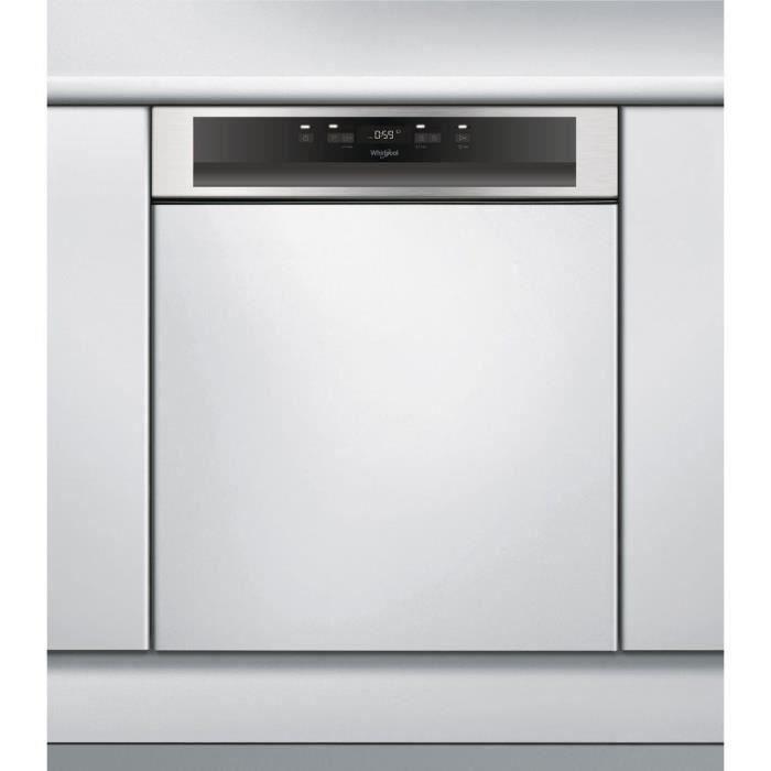 Lave-vaisselle encastrable WHIRLPOOL WBC3B18X - 13 couverts - Moteur induction - Largeur 60 cm - Classe A+ - 48 dB - Bandeau inox/si