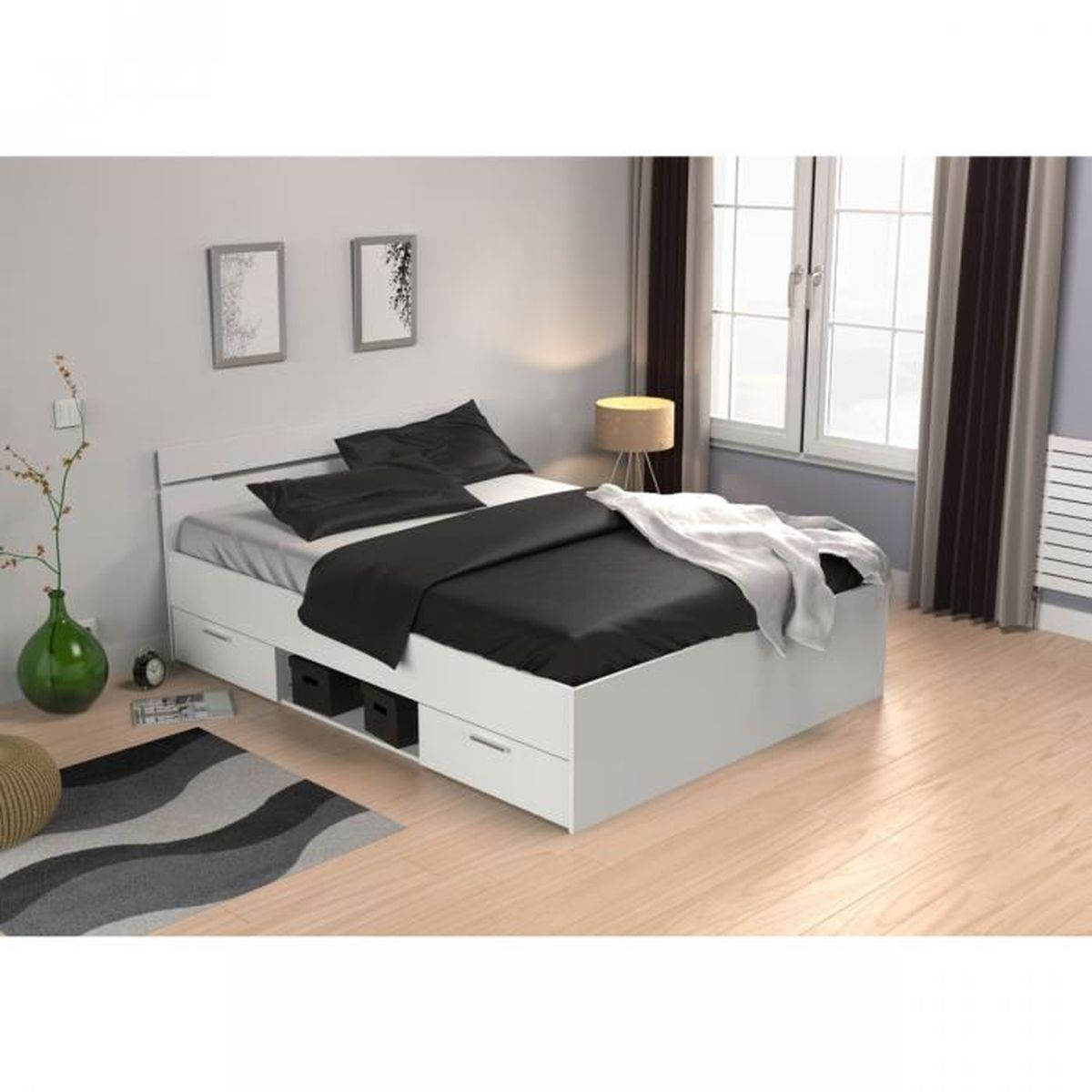 ensemble lit tiroirs blanc perle 140x190 matelas mississipi confort achat vente lit complet. Black Bedroom Furniture Sets. Home Design Ideas