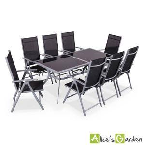 Ensemble table et chaise de jardin Naevia - Table de jardin 8 places alu/textilène
