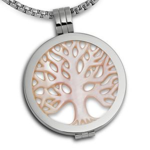 Amello pendentif en acier inoxydable pendentif pour colliers Coin Medaillion Coin Keeper couleur acier avec zircon noir Amello bijoux en acier inoxydable ESC002S