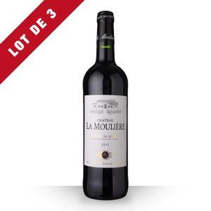 VIN ROUGE 3X Château la Moulière 2015 Rouge 75cl AOC Côtes d